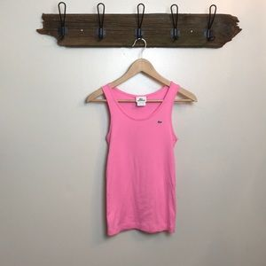 Lacoste ribbed tank top pink alligator logo
